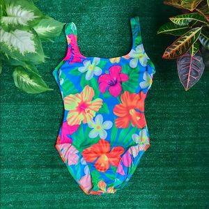Vintage 1990s neon floral Hawaiian swimsuit S
